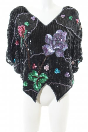 Frank Usher Print-Shirt schwarz-türkis Blumenmuster extravaganter Stil