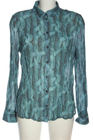 Frank Walder Camicia blusa blu-grigio chiaro stampa integrale stile casual