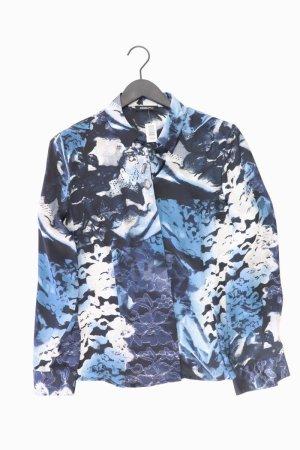 Frank Walder Langarmbluse Größe 42 mit Blumenmuster blau aus Polyester