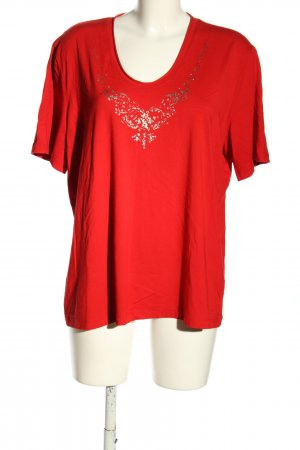 Frank Walder T-shirt rosso-argento Stampa a tema stile casual