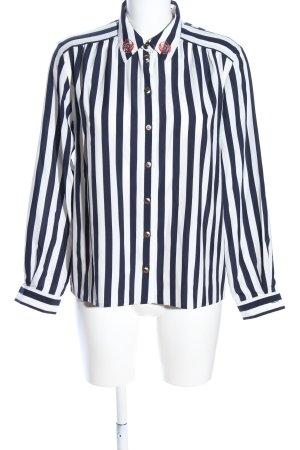 Frankenwälder Langarm-Bluse weiß-schwarz Streifenmuster Casual-Look