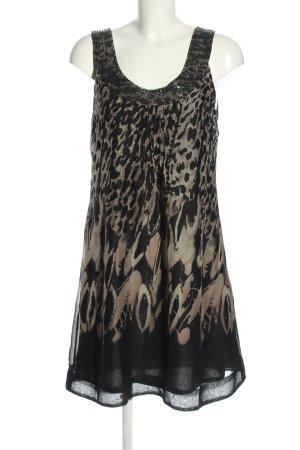 Fransa A-Linien Kleid schwarz-braun Allover-Druck Elegant