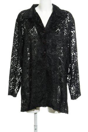 Fransa Hemd-Bluse schwarz abstraktes Muster Vintage-Look