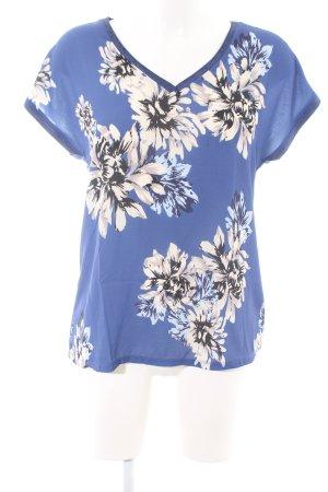Fransa Kurzarm-Bluse blau-wollweiß abstraktes Muster Casual-Look