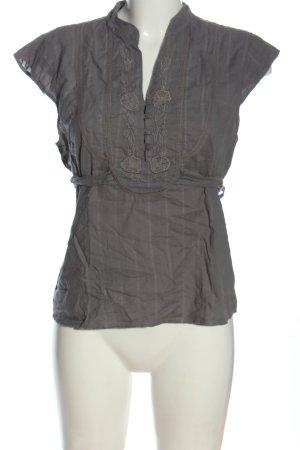Fransa Blouse à manches courtes gris clair motif rayé style décontracté