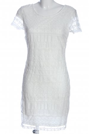 Fransa Vestido de manga corta blanco estampado con diseño abstracto look casual