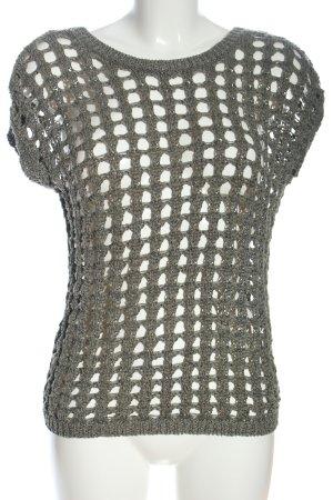 Fransa Short Sleeve Sweater khaki weave pattern casual look