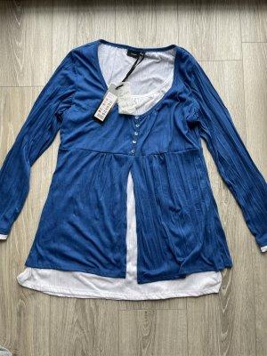 Fransa Long Sleeve Blouse blue-white