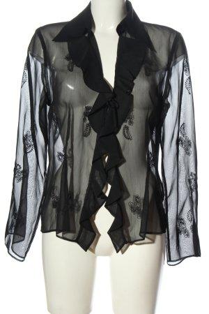 Fransa Camicetta a maniche lunghe nero look trasparente