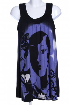 Fransa Midikleid schwarz-blau Motivdruck Casual-Look