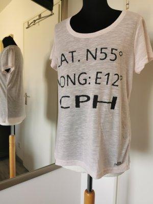 Fransa Shirt in Rosé Gr. L leicht meliert mit Printschriftzug