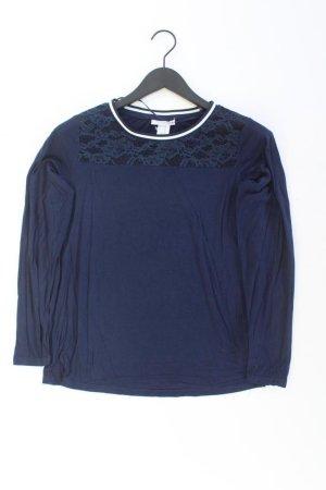 Fransa Spitzenbluse Größe S Langarm blau aus Polyamid