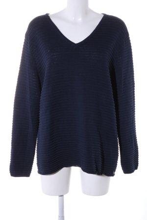 Fransa V-Ausschnitt-Pullover blau Streifenmuster Casual-Look