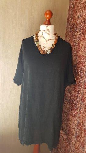 Made in Italy Abito a tunica nero Cotone