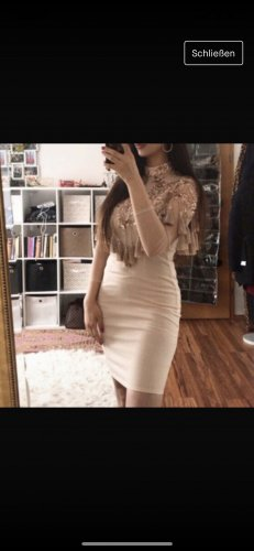 Fringed Dress cream-beige