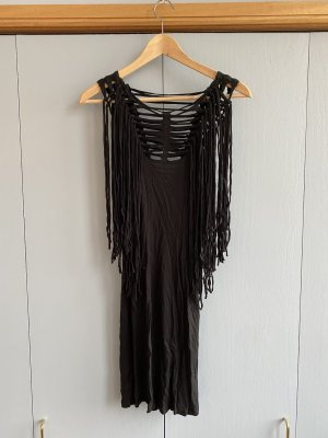 All Saints Fringed Dress black