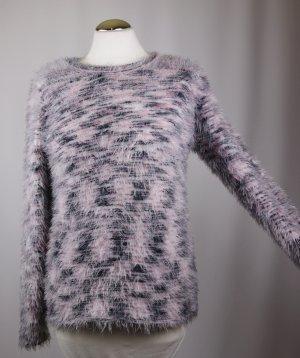 Fransen Kuschel Strick Pullover Pulli Fashion Highlight Größe S 36 Creme Weiß Rosa Grau Meliert Rundhals