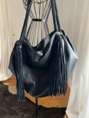Zara Sac à franges noir cuir
