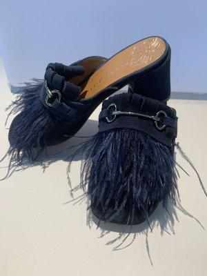Fransen Pantolette dunkel blau Gr. 36 *neu*