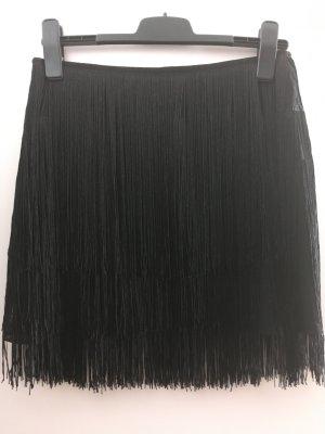 Zara Spódnica z frędzlami czarny