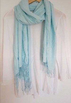 Unbekannte Marke Bufanda de flecos azul celeste-turquesa