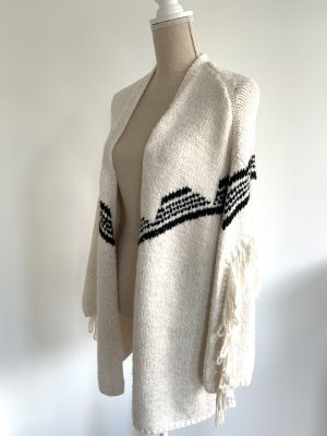 Pull & Bear Coarse Knitted Jacket natural white-black mixture fibre