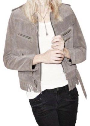 The Kooples Leather Jacket grey brown