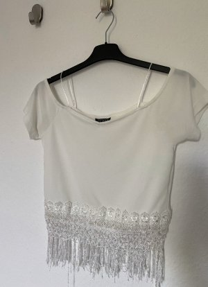 Topshop Top a uncinetto bianco