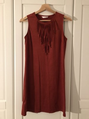 Promod Fringed Dress russet-carmine