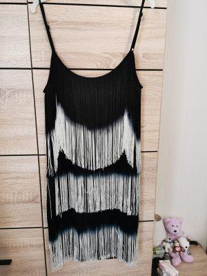 Pimkie Vestido con flecos blanco-negro