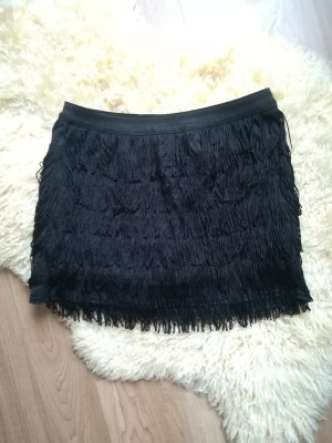 Zara Fringed Skirt black polyester