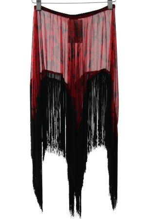 Falda con flecos rojo oscuro-negro estampado floral elegante