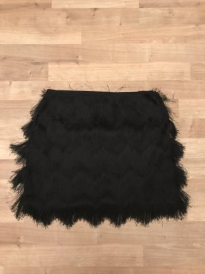H&M Fringed Skirt black polyester