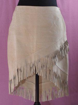 Fringed Skirt oatmeal leather