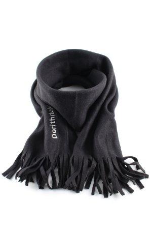 Sjaal met franjes zwart geborduurde letters casual uitstraling