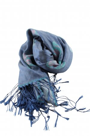 Fringed Scarf blue allover print casual look