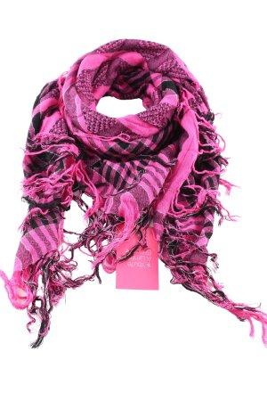 Fransenschal pink-schwarz Karomuster Casual-Look