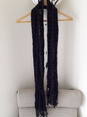 H&M Divided Fringed Scarf black-dark violet