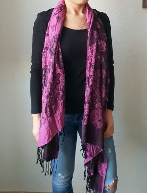 Fransenschal lila pink flieder schwarzer schal florare Blumenmuster