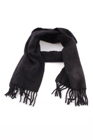 Sjaal met franjes zwart zakelijke stijl
