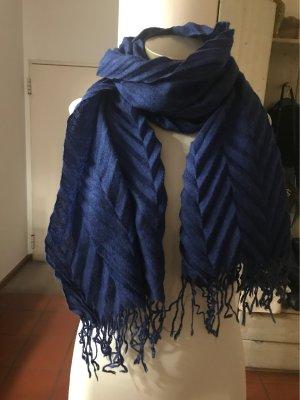 0039 Italy Sjaal met franjes donkerblauw-blauw