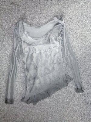 Made in Italy Koszulka z dekoltem woda jasnoszary