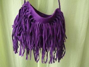Bolso de flecos lila tejido mezclado
