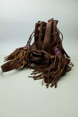 H&M Torebka z frędzlami brązowy Tkanina z mieszanych włókien