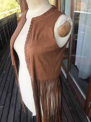 Chaleco con flecos marrón