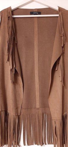 Comma Veste à franges brun