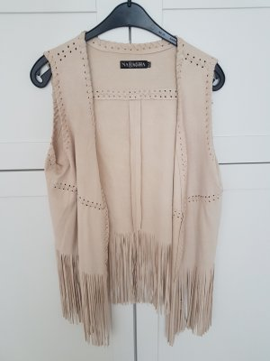 Leather Vest oatmeal-beige viscose