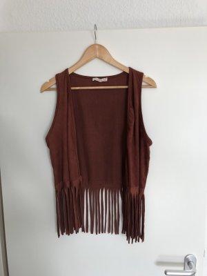 Fringed Vest russet-brown red