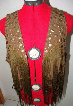 Fransenweste mit Nieten Perlen und Pailletten Gr. 42 Neu Hippiestil