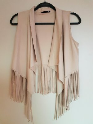 Only Fringed Vest oatmeal polyester